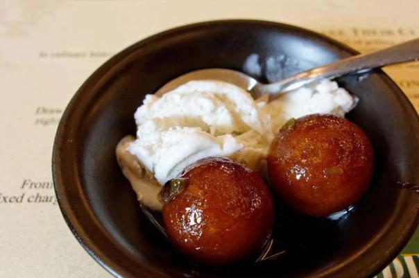 GULABJAMUN WITH VANILLA ICE-CREAM